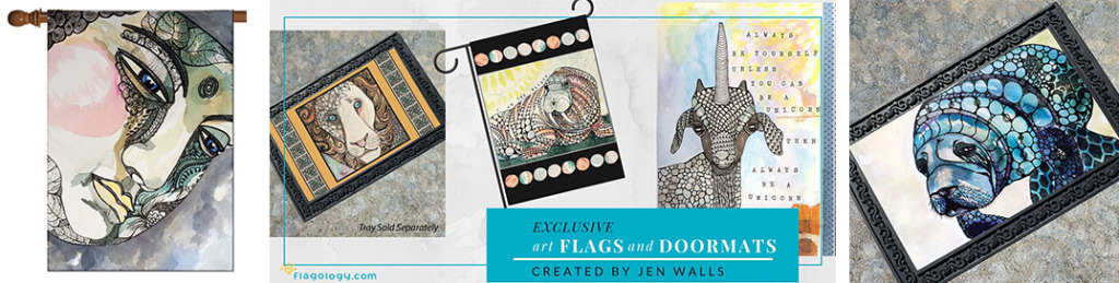 Jen Walls art flags and doormats